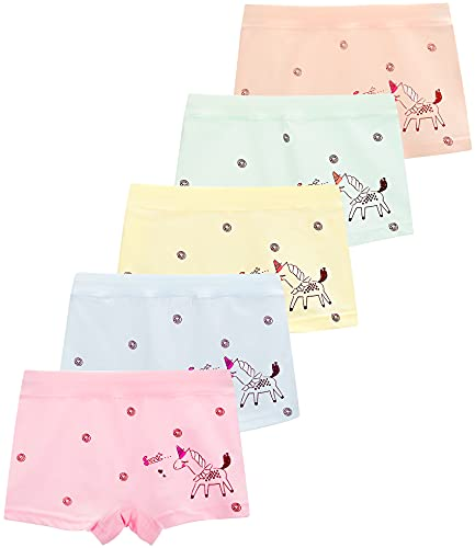 BOOPH Girls Underwear Panties 5 Pack Cotton Kids Boyshort 4-6 Years Multicolored