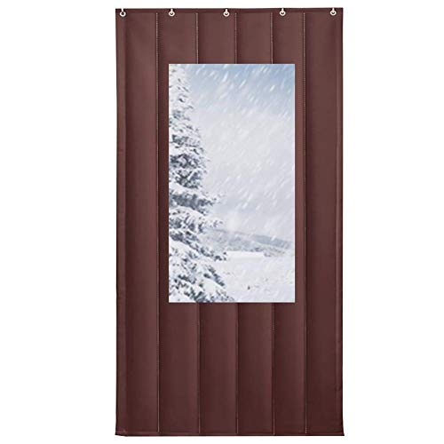 ZXL Brown thermische Protection Door Curtain met window voor ontrande voordeur, voordeur, garage, barn, warm, isolatie, winddicht, custoomize (maat: 110 x 220 cm)