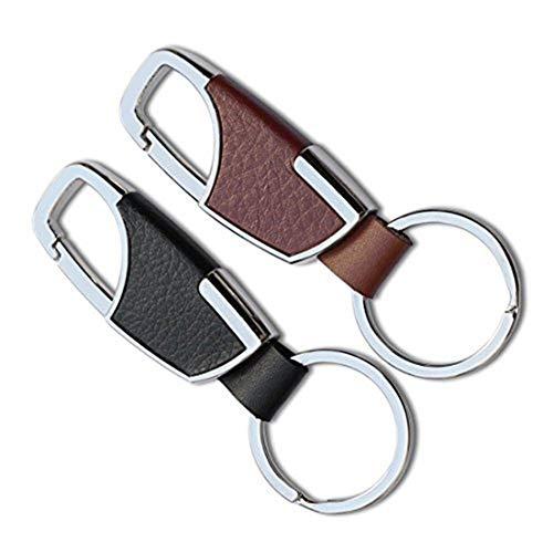 xwanli Eleganter Schlüsselanhänger aus Leder mit Ringen und Geschenkbox | Schlüsselband Schlüsselbund Schlüsselhalter Schlüsselring Auto Foto Gravur Ring | Damen Herren | Geschenk (Schwarz)