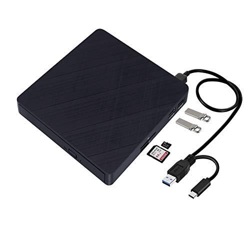 BDYING Type-C External DVD Drive,USB 3.0 and USB C CD DVD Drive Portable CD/DVD +/-RW Player Burner Writer with SD/TF Card Reader/2 USB 3.0 Hub Data Transfer for MacBook Laptop Desktop Windows Mac OS