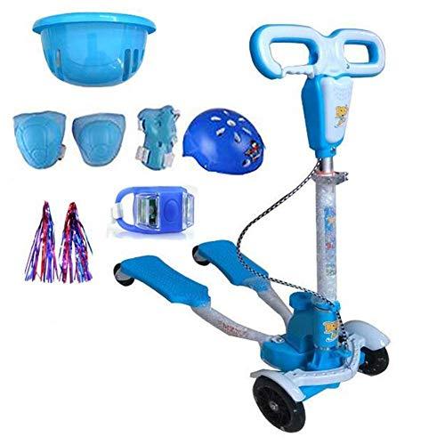 Lcxliga Scooter de Cuatro Ruedas, Carro de Tijera, Carro de Rana, Carro de Columpio (Adecuado for niños de 3 a 10 años)