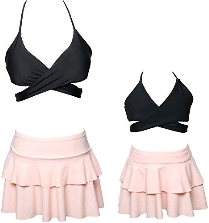 FITWEAR Women Swimsuits High Waist Bikini Sets Ruffles 2 Pieces Swimwear for Women Summer Swim Surfing Clothes Bikinis 2018 New color Black and Skirt Size 23T 104cm