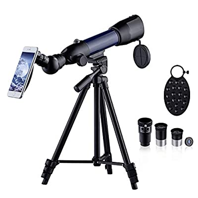 HUTACT Telescope for Kids HD Refractor Astronomy Telescopes for Beginner Adults 50mm Telescope with Adjustable Tripod, Phone Adapter, Moon Map, Moon Filter,Compass