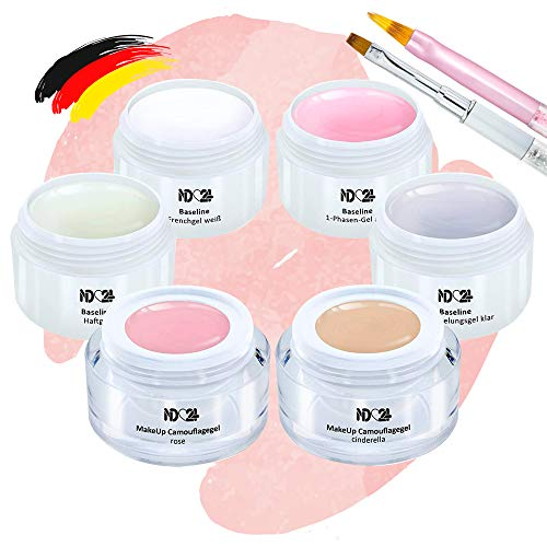 Baby Boomer Gel Set + Pinsel - French Make Up Ombre Rosa Pink Weiss - Studio Qualität (6 x 5ml)
