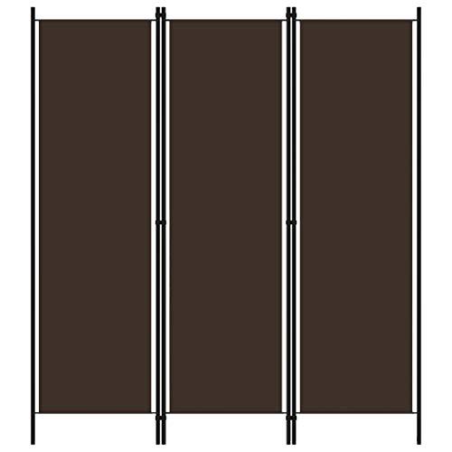 vidaXL Raumteiler Klappbar Freistehend Trennwand Paravent Umkleide Sichtschutz Spanische Wand Raumtrenner 3-TLG. Braun 150x180cm Eisen Stoff
