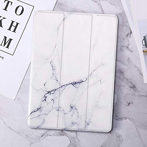 QiuKui Tab Cover For IPad 11 2020/9.7 2018 2017 5/6th 10.2 7th, Marble Leather Smart Cover For IPad 2 Air 1/2 MINI 1/2/3/4/5 Pro10.5/9.7 (Color : White, Size : Mini 4 5 7.9inch)