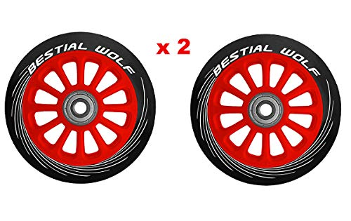 Bestial Wolf Pilot XX2 Pack Dos Ruedas Originales Diámetro 100 mm para Scooter Freestyle (Rojo)