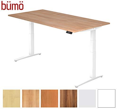 bümö® elektrischer Designer Schreibtisch in weiß | Ergonomischer Sitz- & Stehschreibtisch höhenverstellbar | Bürotisch elektrisch | Büroschreibtisch mit Memoryfunktion Nussbaum 200 x 100 cm