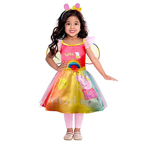 Amscan 9908877 Child Girls Official Peppa Pig Licensed Rainbow Fancy Dress...