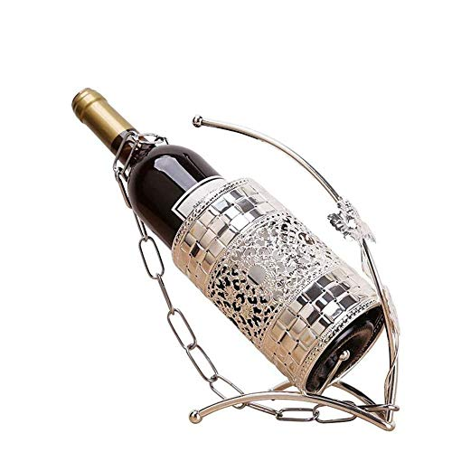 Estante de vino de metal independiente para botellas de vino, soporte de vino, para bar, familia, JIADUOBAO (color: plata)