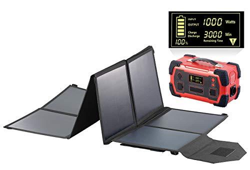 reVolt Solar Akku: Powerbank & Solar-Konverter mit faltbarem 100-Watt-Solarpanel, 216Ah (Solar-Powerbank 12V)
