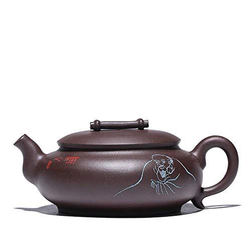 FHISD Zisha Pot Original Mine Old Purple Barro Bamboo Row Carácter Grabado Tetera Dharma Juego de té con Letras de Regalo