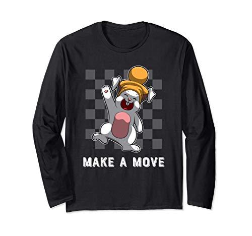バニーポーンピースとチェス盤パターン - チェス 長袖Tシャツ