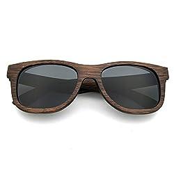 LUI SUI Männer Frauen Retro Holz Polarisierte Linse Sonnenbrille UV Schutz Eyewear Leichte Holzrahmen Float Stil Gläser für Reisen Radfahren Angeln Grau
