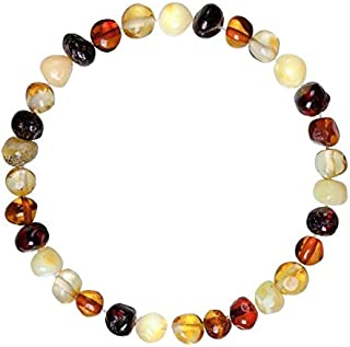 Adult Baltic Amber Bracelet (Unisex, Multicolor, 7.5 Inches) Lab-Tested 100% Certified Baltic Amber - Natural Pain Relief & Anti-Inflammatory for Migraine, Sinus, Arthritis & More