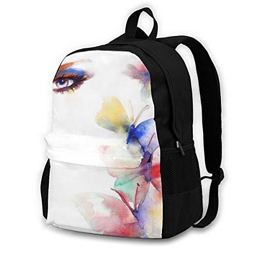 GuoJJ Beautiful Woman Face. Colorful Makeup Casual Schoolbag Travel Laptop Backpack Daypack, Durable Waterproof Computer Bag Bookbag for Men Women Teens School Work