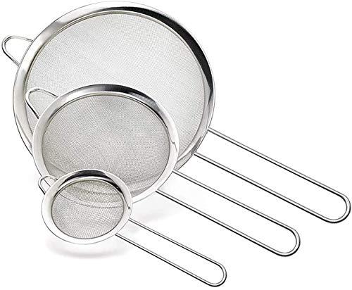 Pack 3 Colador Acero Inoxidable/Colador Cocina/Colador Acero Malla Fina/Juego de Colador Acero Inoxidable Redondo Microperforado 12cm y 10cm y 8cm Pack 3