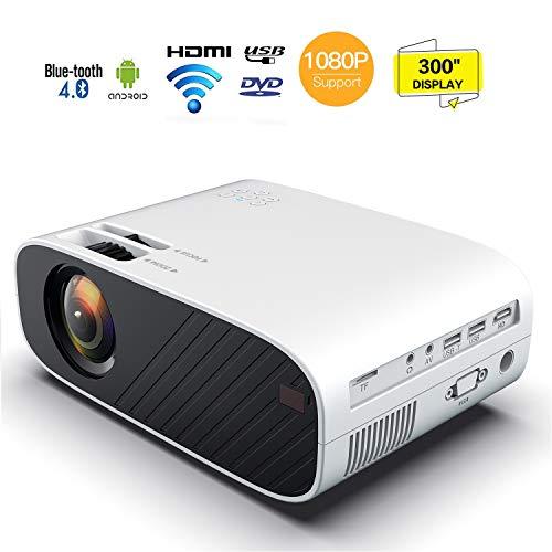Beamer, Mini Beamer 10000 Lumen Full HD, Projektor Tragbar Videoprojektor unterstützt 1080P, LED Projektor, LED 30000 Stunden Heimkino Beamer Kompatibel mit HDMI VGA AV USB TF, Heimkino Projektor