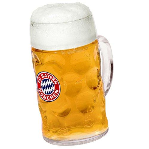 FC Bayern München Bierkrug/Krug/Maßkrug mit Logo FCB Plus gratis Aufkleber Forever München
