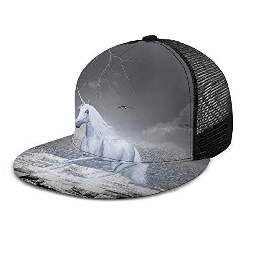 Gorra de béisbol Sea On Chessboard con un Caballo de Unicornio Unisex con impresión 3D Snapback Caps Gorra de Malla Ajustable Sombreros de Camionero Negro