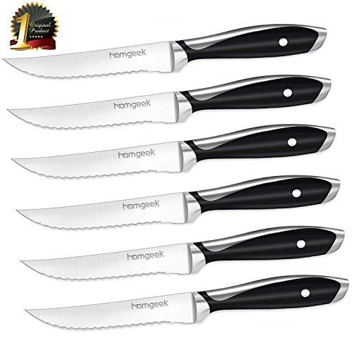 Steak Knife Set,Homgeek 6-Piece Heavy Duty Fine Edge Steak Knives,Made of German X50Cr15 Stainless Steel,Black