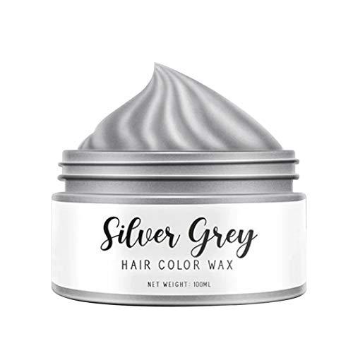 Silbergrau Haarfarbe Wachs Temporäre Farben Haarfärbemittel Schönheitspflege Haarstyling Wachs 1/3,4 Unzen,Silver Grey Hair Color Wax Temporary Colors Hair Dye Beauty Care Hair Styling Wax 1/3.4 Oz