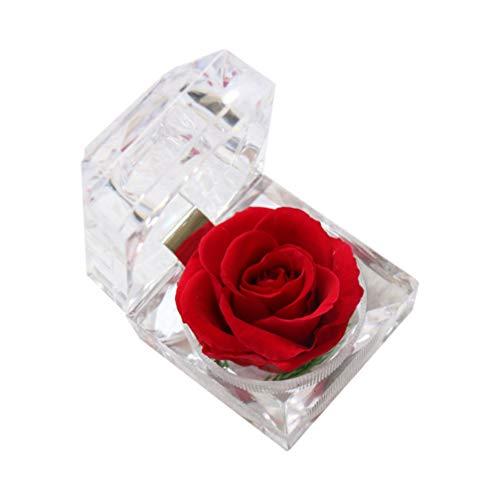 STOBOK Eternal Rose Present Immortal Rose Flowers Gift for Women Girl Birthday, Anniversary, Valentines Day, Mothers Day, Christmas, Thanksgively, Holiday Present (Branco), Vermelho, 7.7*5.5cm