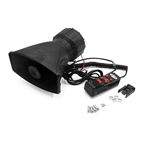 Lowest Prices! uxcell 60W 12V 300dB 5 Sound Car Alarm Siren Horn Loud Speaker w Microphone