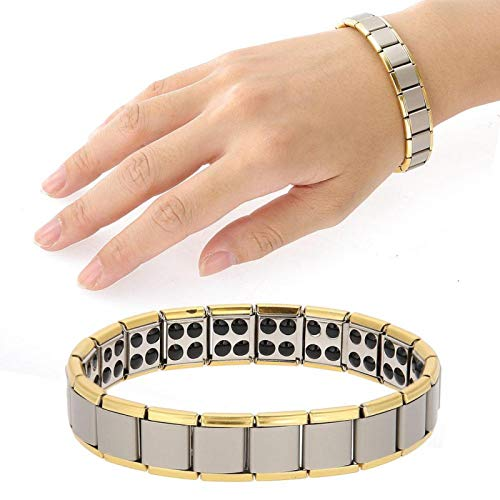 DAUERHAFT Magnet Health Healing Schmuck Germanium Titan Stahl Armband, für Familie, Freunde und Eltern Geschenk(Golden)