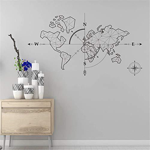 Gran mapa del mundo brújula tierra pegatinas de pared vinilo aula mapa del mundo viajes | sala de estar dormitorio sofá fondo TV fondo de pared regalos creativos