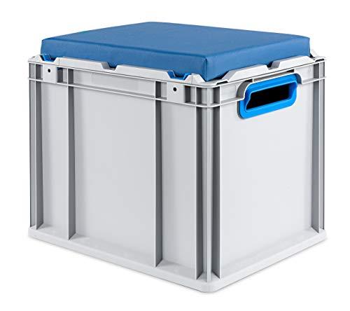 aidB Eurobox NextGen Seat Box, blau, (400x300x365 mm), Griffe offen, Sitzbox mit Stauraum und abnehmbarem Kissen, 1St.