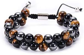 Double bracelet triple protection, oeil de Tigre, obsidienne et hematite