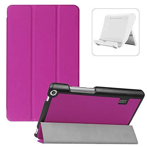 Shinyzone Coque pour Huawei MediaPad T3 7.0 Pouce,Fonction Support avec Rabat à Trois Volets Magnétique Veille/Réveil Automatique Housse Étui de Protection Rigide en Cuir PU,Violet