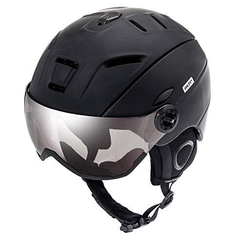 Meteor Casco da Sci Invernale e da Snowboard con Occhiali per Bambini, Giovani e Adulti Regolabile Ski Helmet per Gli Sport Invernali, Skate e Alpinismo (M (55-58cm), Nero H)