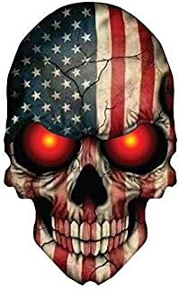 Sticker Skull Skeleton Devil Demon American Flag USA Military Support Decal size 6 x 4 inch
