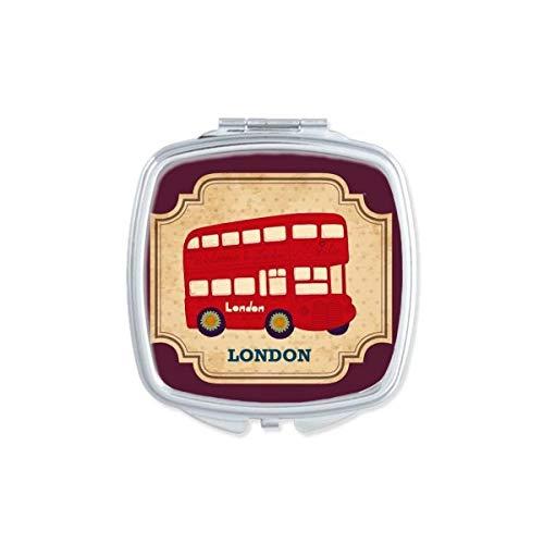 UK Londen Dubbeldekker Bus Stempel Vierkant Compact Make-up Spiegel Draagbare Leuke Hand Pocket Spiegels Gift