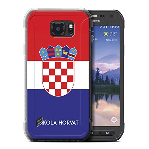 eSwish Personalisiert Persönlich National Nation Flagge 2 Gel/TPU Hülle für Samsung Galaxy S6 Active/G890 / Kroatien/Kroatisch Design/Initiale/Name/Text Schutzhülle/Hülle/Etui