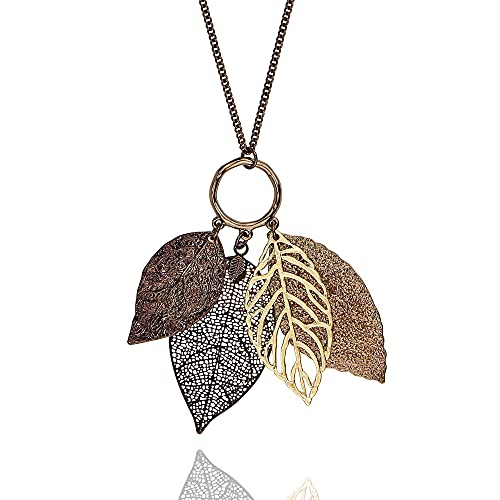 POMINA Gold Silver Two Tone Filigree Fall Leaf Pendant Long Necklace Chic Sweater Chain Statement Necklace for Women (Worn Choco Gold)