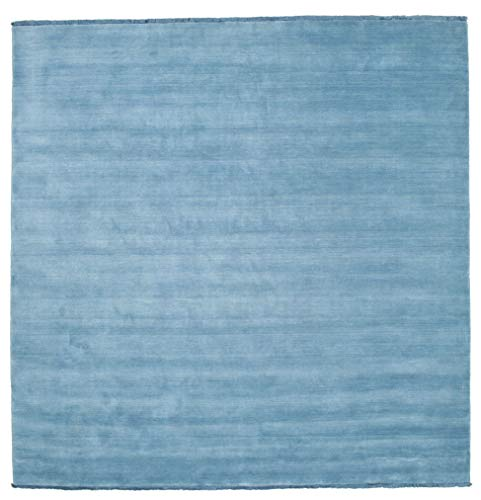 RugVista Handloom Fringes - hellblau Teppich 250x250 Moderner, Quadratisch Teppich