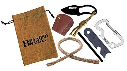 Branded Boards Bushcraft Survival Fire Starter Kits, Ferro Rod, Camp Knife, Waxed...