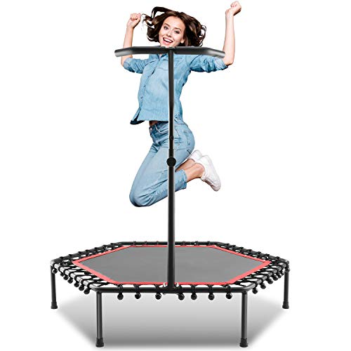 ANCHEER Mini Trampoline, Rebounder for Adults Kids Fitness, Trampolines Trainer with Adjustable Handle Bar for Indoor/Outdoor/Garden/Yoga Workout Exercise