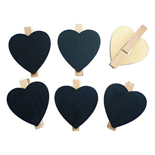 6x Mini Tafel Herz mit Klammer - Namenschild Tischkarten Platzkarten für Hochzeit Geburtstag, Ø4,5cm
