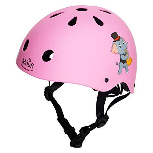 MöuR Kinder Fahrradhelm für 3-13 Jahre Alt Junge und Mädchen (Rosa, M: 56-58 cm)