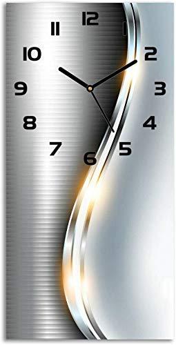Tulup Reloj de Parede 30x60 cm Vidrio Templado Reloj Silencioso Moderno Reloj Ola de Plata para salón