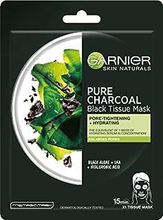 Garnier, Pure Charcoal Black Tissue Mask Reinigende und feuchtigkeitsspendende Porenstraffungsmaske Eine Reinigungsmaske auf einem Carbongewebe