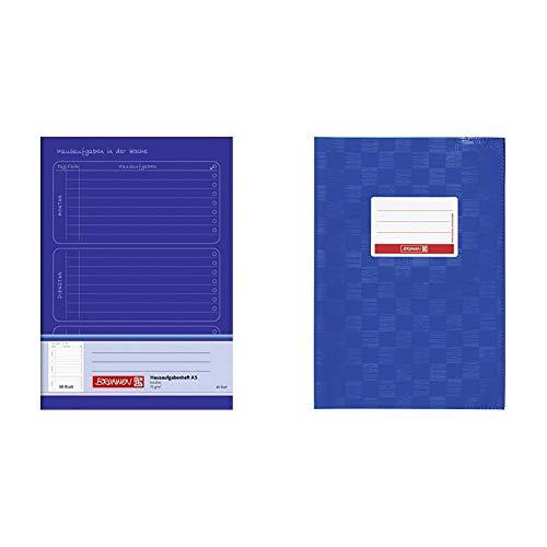 Brunnen 1046814 Hausaufgabenheft (A5, 48 Blatt) blau & 104052536 Hefthülle/Heftumschlag (A5, Folie, mit Namensschild) blau