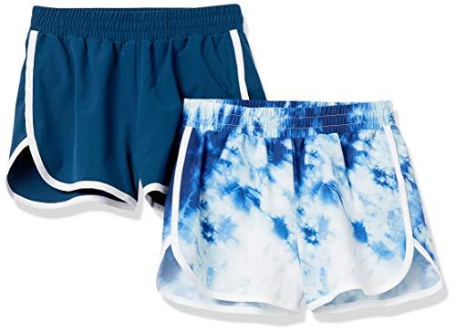 Amazon Essentials Girls' Active Performance Running Shorts, 2-Pack Navy/Tie Dye, Large