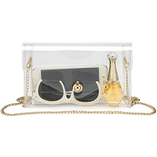 Vorspack Clear Purse Gift for Women Stadium Approved Clear Crossbody Bag Cute for Sports Concert Prom Party Present with Removable & Detachable Golden Chain
