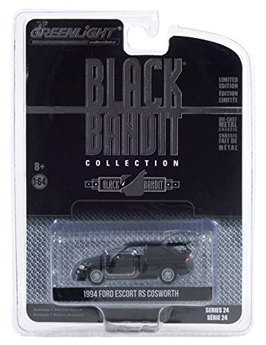 1994 Ford Escort RS Cosworth - Black Bandit Rally Racing Team, Black - Greenlight 28050D/48 - 1/64 Scale Diecast Model Toy Car