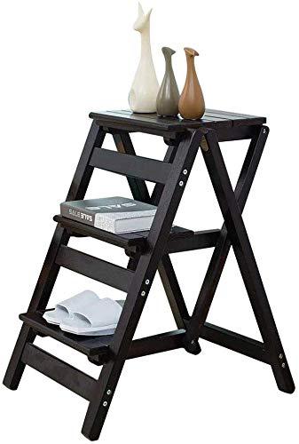 XITER Schritt Hocker Folding Stufenleiter 3 Stufen aus Holz Schwarz Leicht und Faltbare for Kind Erwachsene for Bibliothek Loft Küche Hauptdekoration - 150kg Kapazität